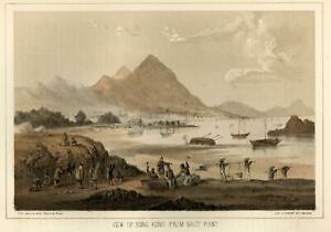 Hong-Kong-Harbor-East-Point-Workers-Ships-1856-Perry-Expedition-litho-view-print