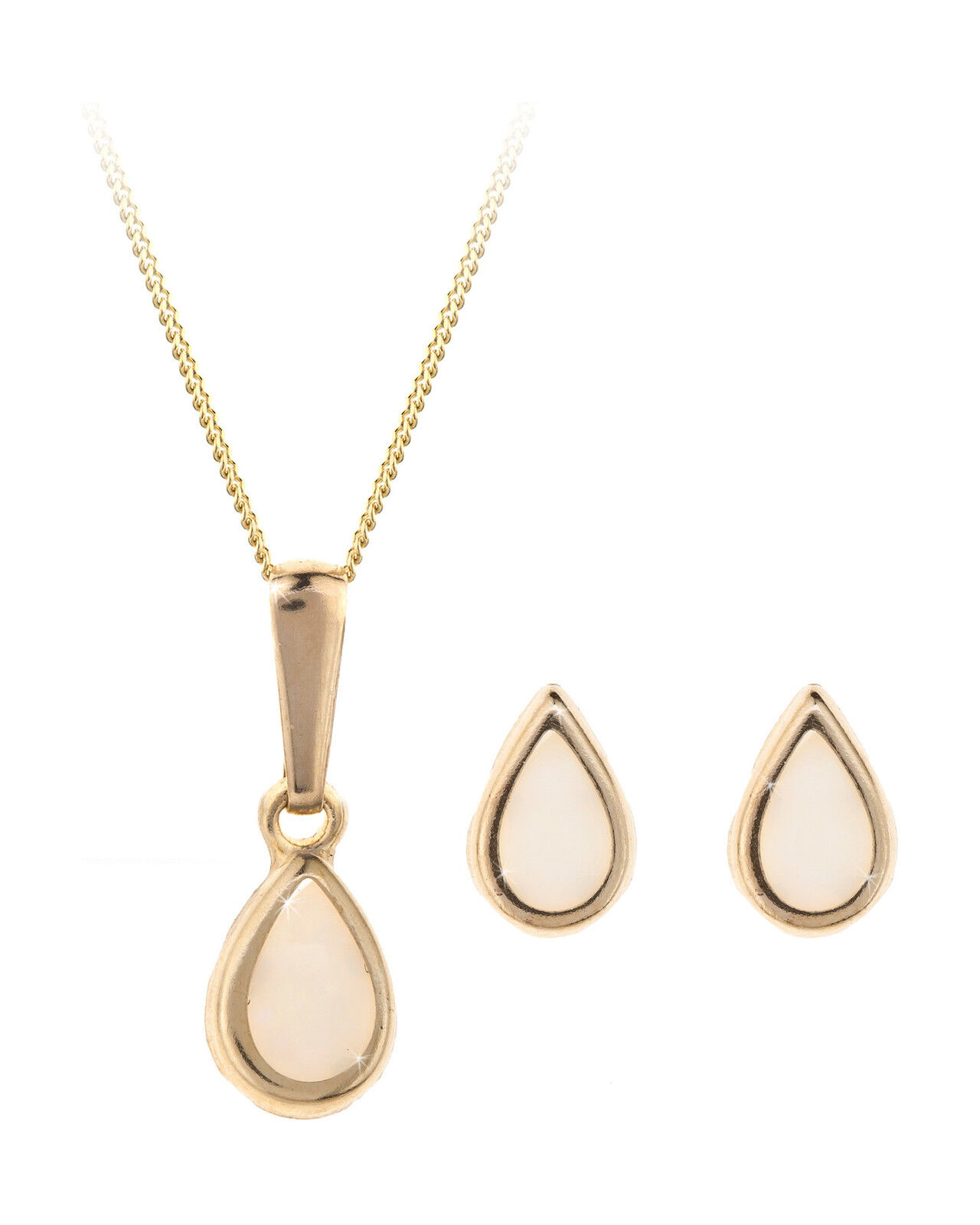9ct gold October (opal) birthstone earring, pendant & chain set. Gift box