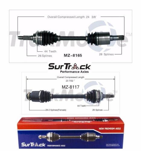 For Mazda Protege 2003 FWD Mazdaspeed Pair of Front CV Axle Shafts SurTrack Set