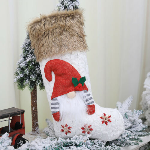 Details about  /Embroidered Personalised Deluxe Nordic Knitted Stocking Sack Christmas Xmas Gift