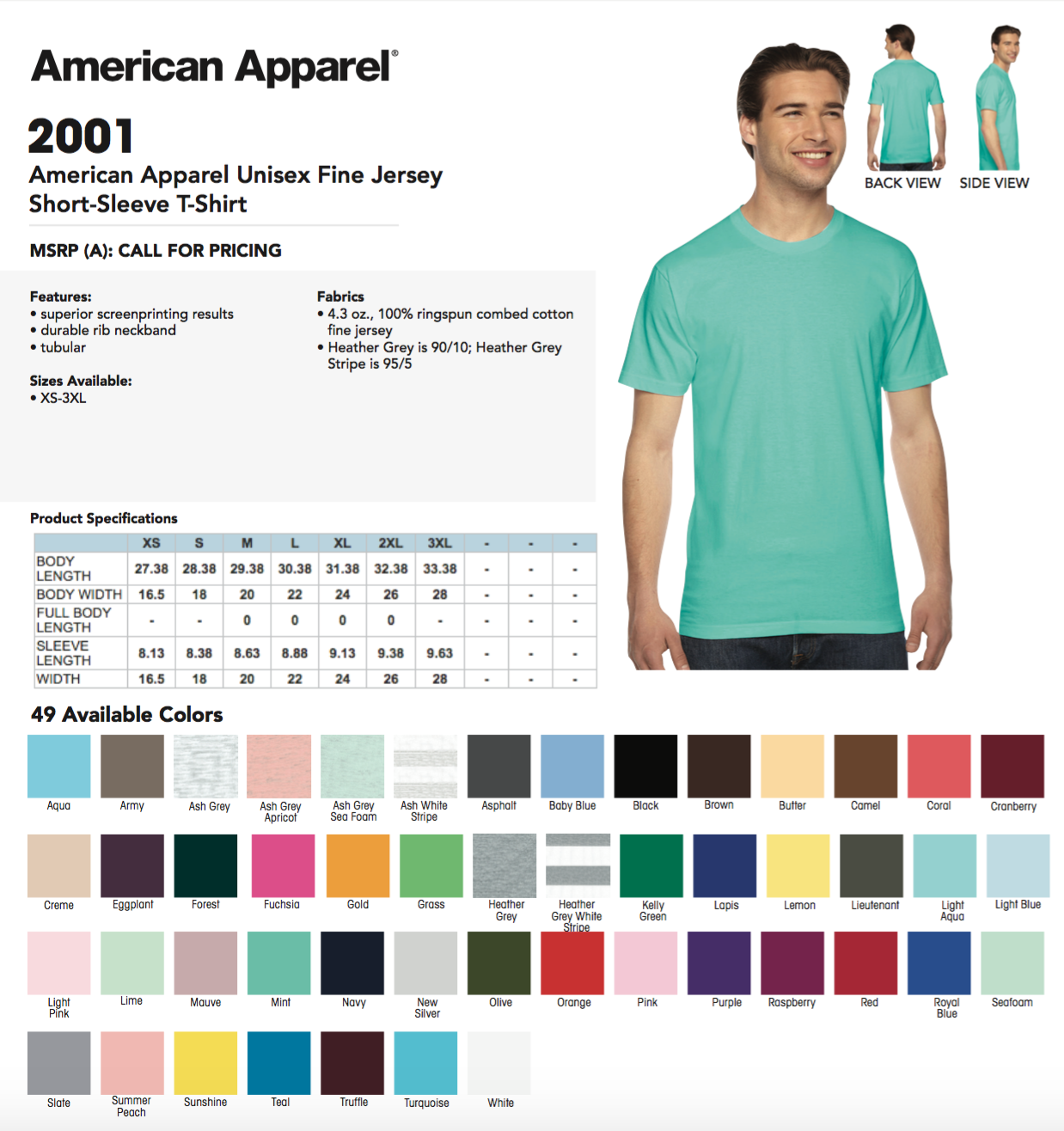 50 Blank American Apparel 2001 Fine Jersey T-Shirt Lot ok to mix XS-XL & Farbes