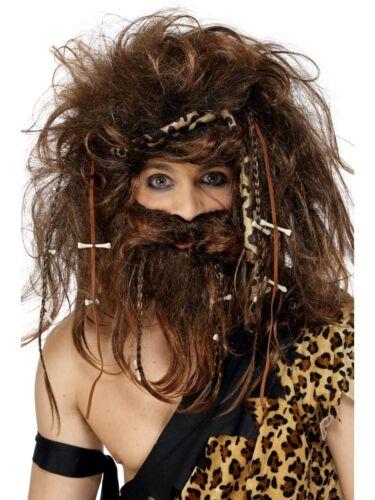 Crazy Caveman Wig Beard Bones Headband Adults Mens Fancy Dress Accessory Brown