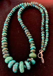 Long-Navajo-Sterling-Silver-Blue-SpiderWeb-Turquoise-Bead-Necklace-30in-193-Gift