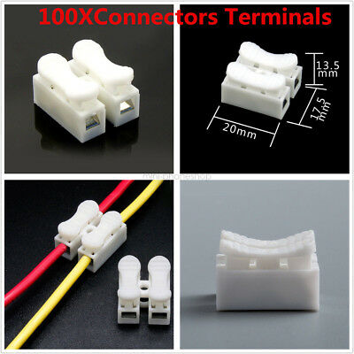 100Pcs Electrical Cable Terminals Connectors Quick Splice Lock Wire Self Locking