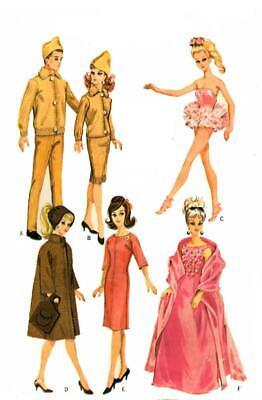 Doll Clothes Pattern 6420 Barbie Ken Midge Alan Annette Andy Ben Casey Don Polly