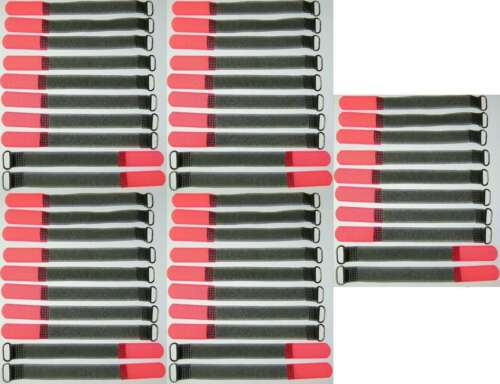 50 Klettkabelbinder Öse 160 x 16 mm neonrot FK Kabelbinder Klettband Kabelklett