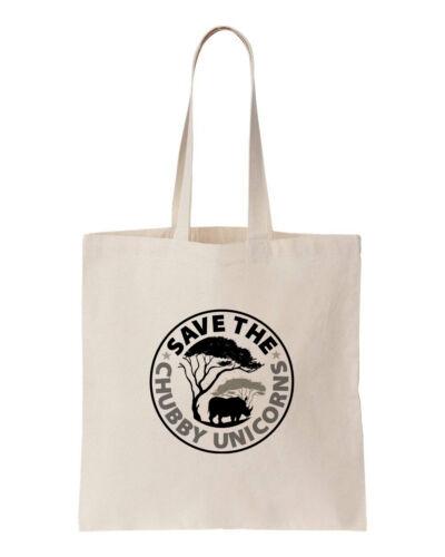 100/% COTONE salvare il Chubby Unicorni-Rhino Eco Tote Shopping Bag 150GSM 5oz