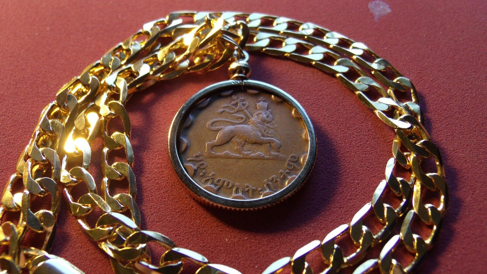 Haile Sellasie  Lion of Judah  Coin Pendant w 24  18k gold Filled Mariner Chain