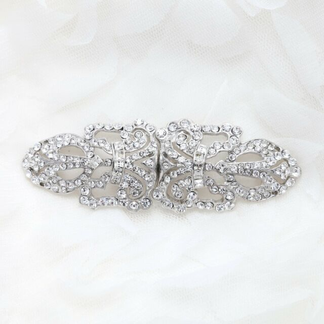 Vintage Style Long Rhinestone Crystal Wedding Bridal Ribbon Hook and Eye Clasp