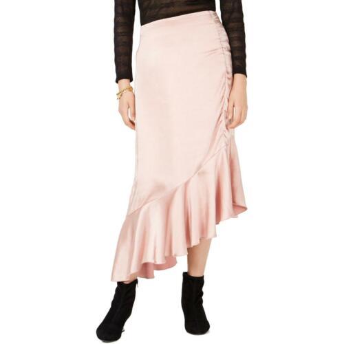 Bar III Womens Pink Satin Party Cocktail Midi Skirt 6 BHFO 5700