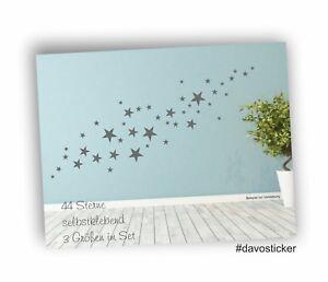 Wandtattoo-44-matte-graue-Sterne-Aufkleber-Sticker-Dekoration-Himmel-Star-7794