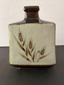 "Otagiri Original Hand Crafted Pottery Japan Earrhtone Wheat Motif Vase 8""h x 6""w"