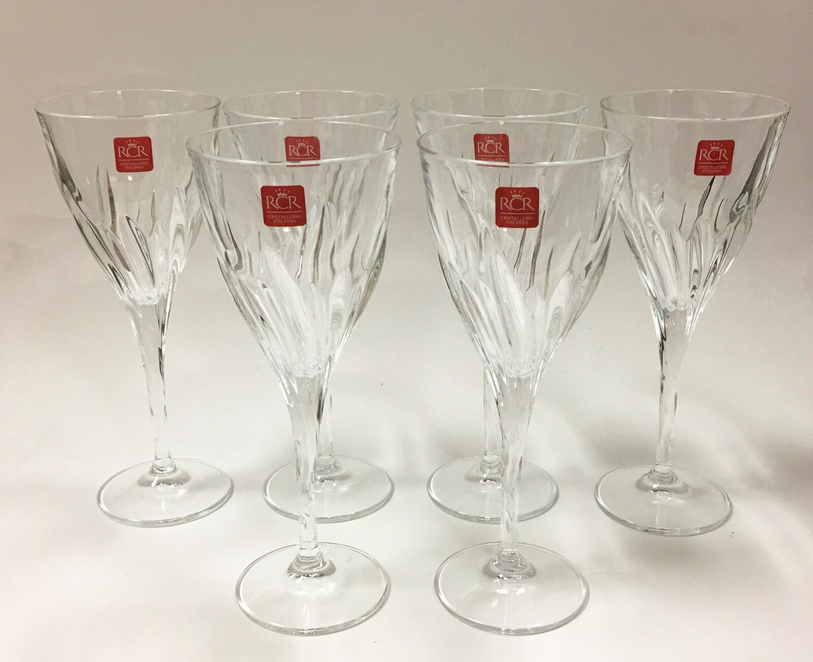 SET OF 6,12 RCR FLUENTE CLEAR CRYSTAL WINE GLASS GOBLETS-9 3 4 OZ-ITALY