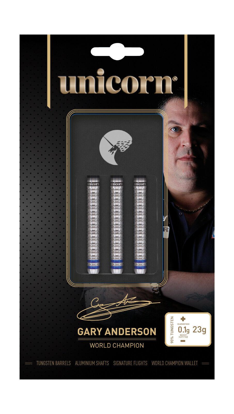 Unicorn Gary Anderson World Champion 25g Phase 3 Natural 90% Tungsten Darts Set