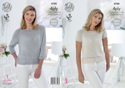 Womens Knitting Pattern Lacy Pattern Hem Raglan Sleeve Tops King Cole 4 Ply 4788