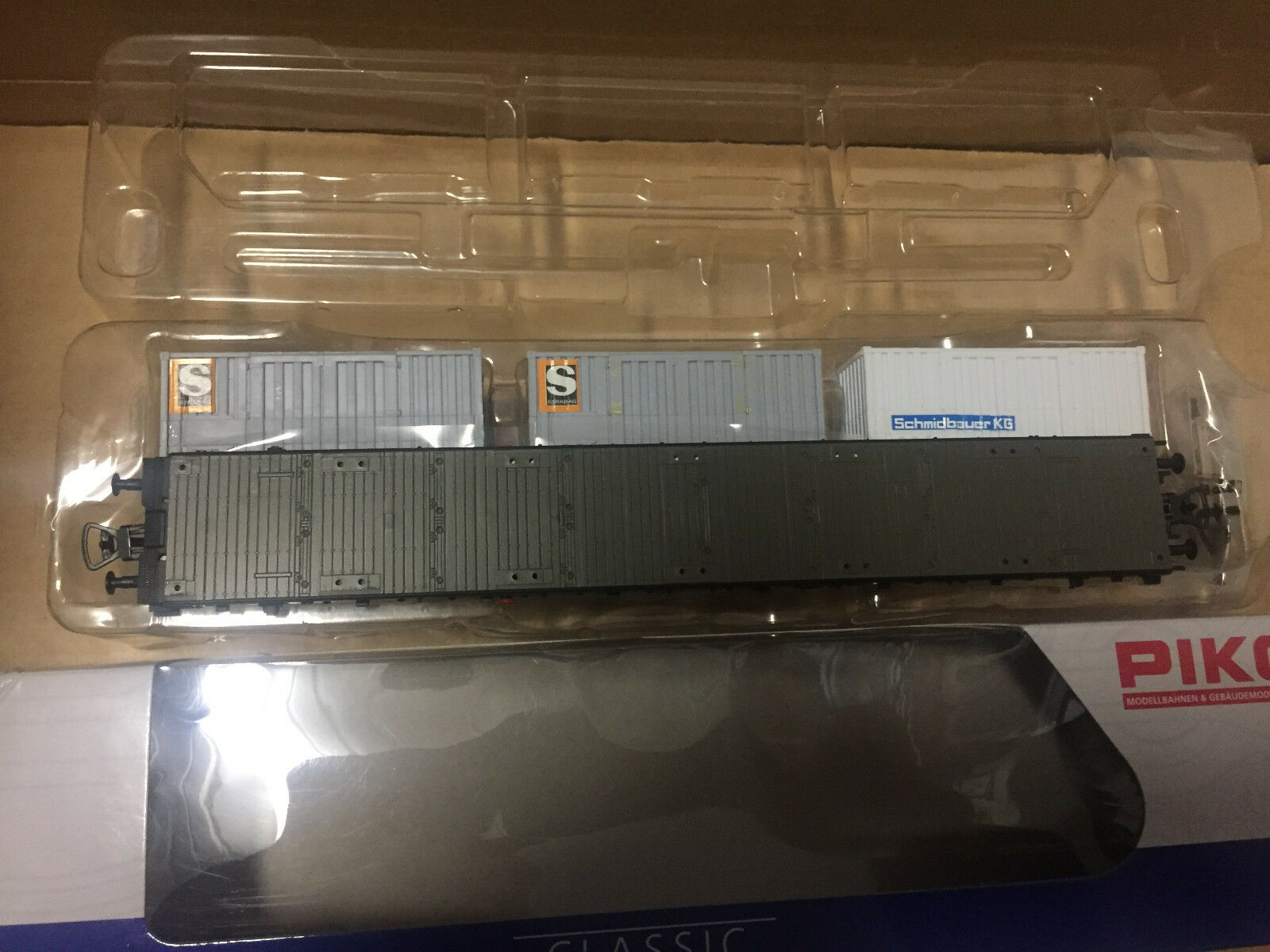 PIKO h0 95489 piatto carrello carrello carrello con 3 container Schmidbauer kg OVP + NUOVO 33cd24