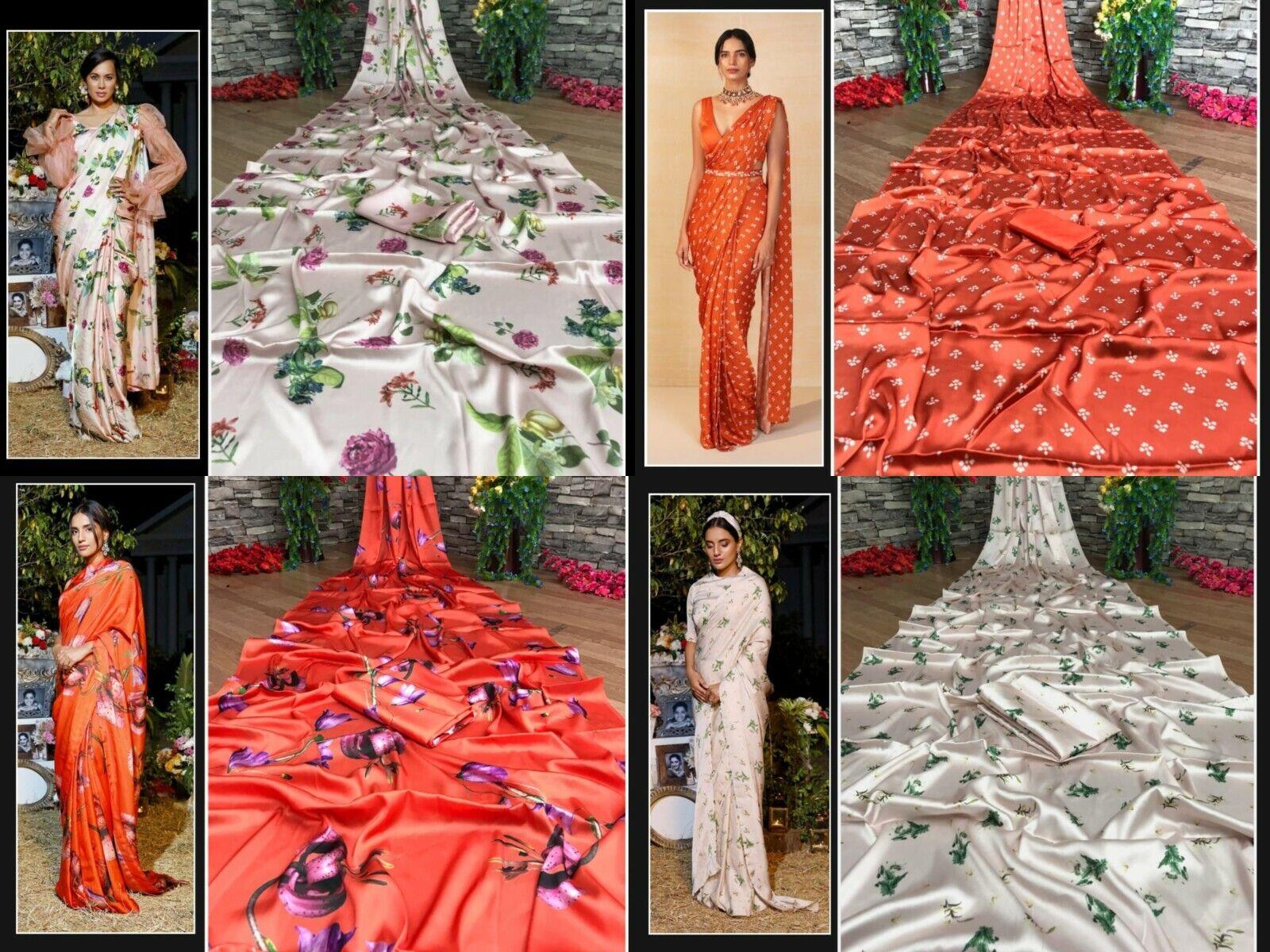 Satin Silk Saree Indian Designer Digital Print Bollywood Pakistani Sari Blouse
