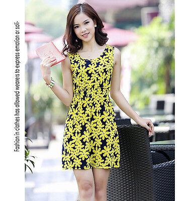 Summer Women Fashion Elegant Cocktail Party Sexy  Dress Flower Short Knit Skirt