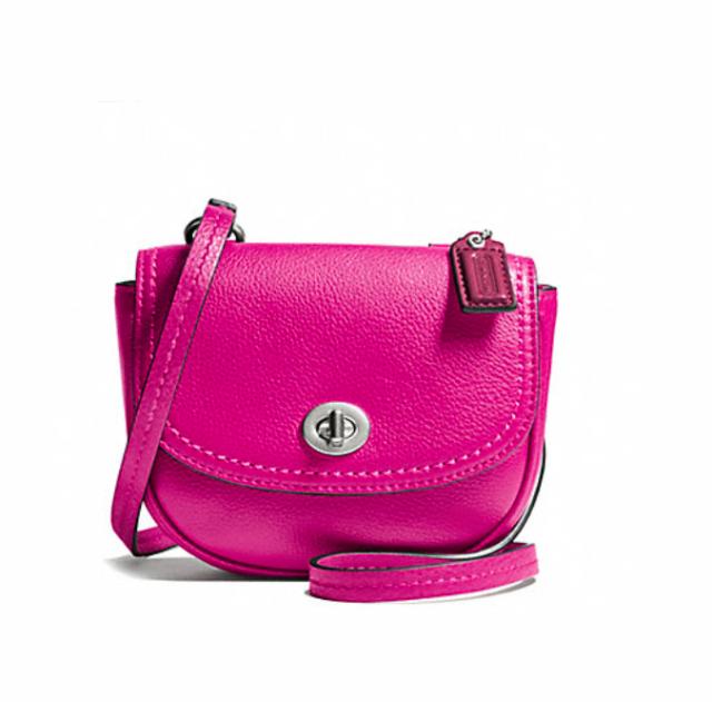 df25c79dca33 Coach Park Leather Bright Magenta Pink Mini Crossbody Purse F49872 ...