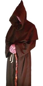 Mens-Brown-Viking-Monks-Robes-Monk-Friar-Tuck-Robe-Halloween-Fancy-Dress-Costume