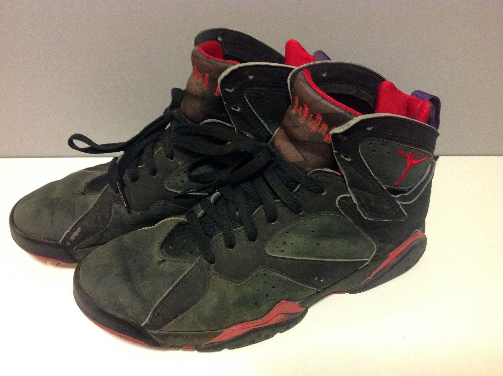 7d22f7e37e3 92 Air Jordan VII OG 1992 Raptors 7 7 7 Black Red Grey Purple 130014 ...