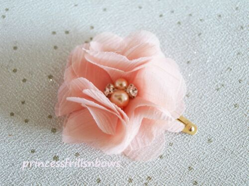 X 2 Clips Girls Hair Clips Wedding Christening Chiffon Flower Hair Clips