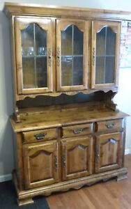 Image Is Loading Lighted Kincaid Solid Oak China Cabinet All Original