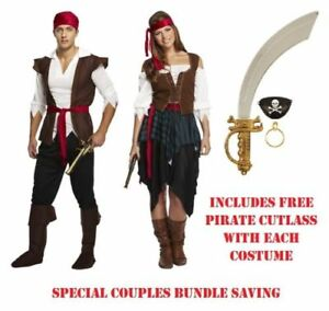 PIRATE CARIBBEAN Fancy Dress Costume Mens Ladies Couples Adults Accessories