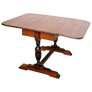 Antique-English-Pub-Table-Solid-Tiger-Oak-Drop-side-Leaf-Kitchen-Game-Seats-six