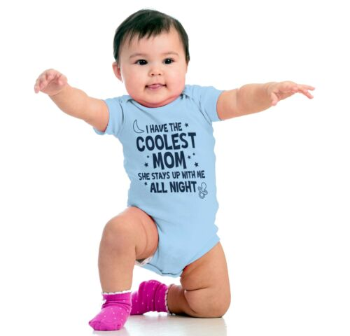 Coolest Mom Up All Night Gerber OnesieSarcastic Crying Awake Baby Romper