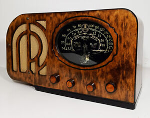 Old Antique Wood Simplex Vintage Tube Radio - Restored & Working Deco Table top
