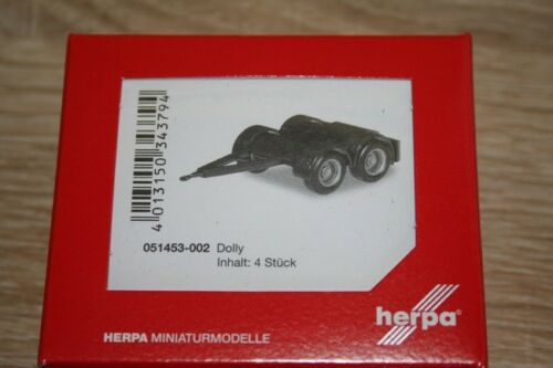 - negro-nuevo 4x 1//87 dolly para hängerzug sobre Lang Herpa 051453-002