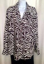 INC WOMAN Size 20W 100% SILK Dark Brown White Zebra Print Dressy BLOUSE