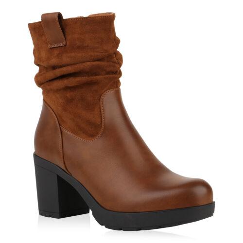 Damen Stiefeletten Biker Boots Leicht Gefütterte Plateau Stiefel 831530 Schuhe
