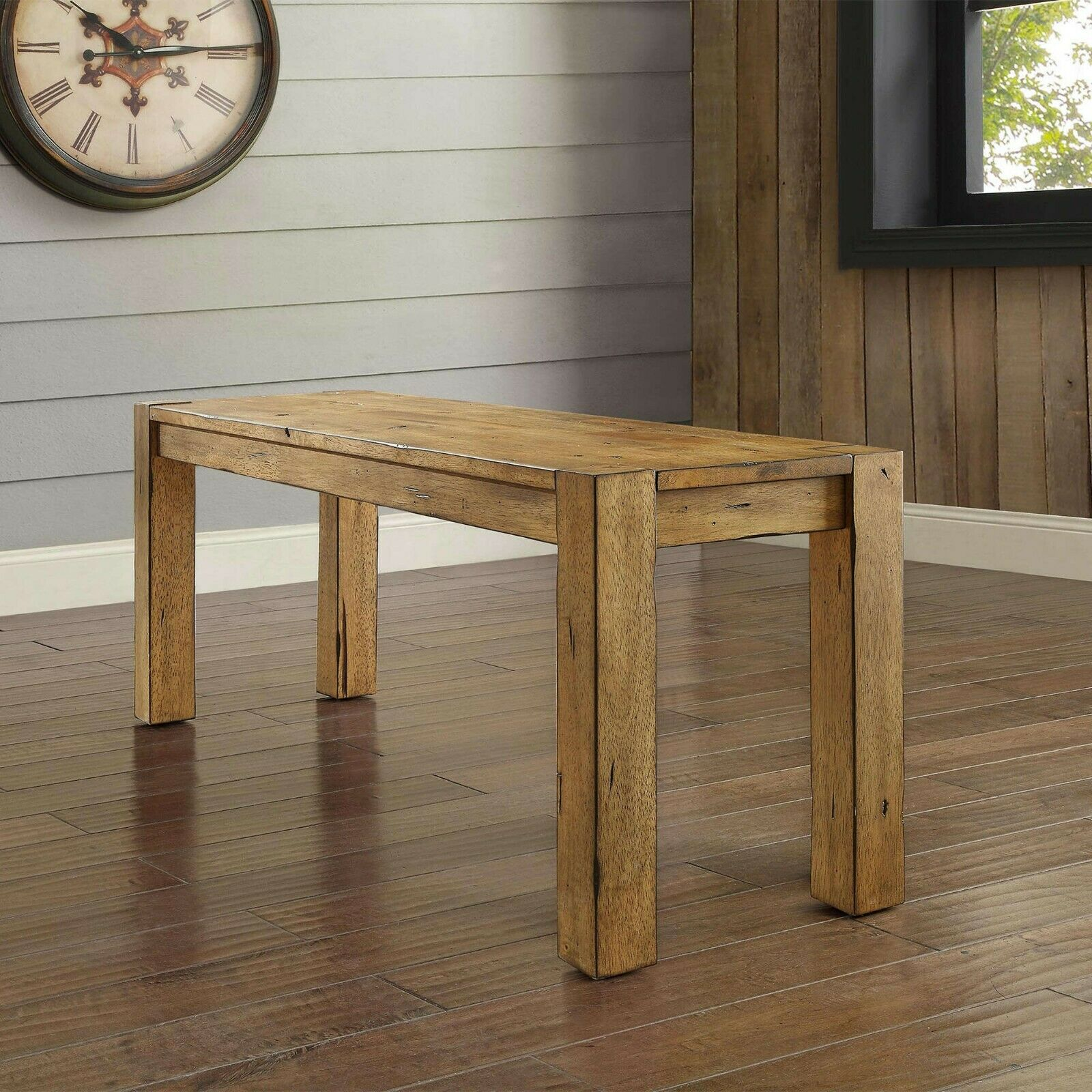 Rustic Dining Table Bench Seat Farmhouse Solid Wood Benches For Kitchen  Tables