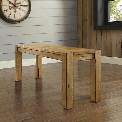 Wondrous Rustic Dining Table Bench Seat Farmhouse Solid Wood Benches For Kitchen Tables 764053505249 Ebay Machost Co Dining Chair Design Ideas Machostcouk