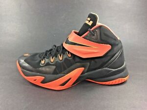 promo code 8b232 17818 Image is loading Nike-LeBron-SOLDIER-VIII-Black-Peach-GS-Shoes-