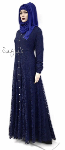 Abaya Fully Blue Front Midnight Lined Lace Jilbab Open Luxury qTWHvaT