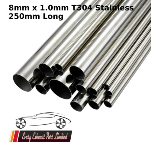 8mm x 1.0mm Wall T304 Stainless Steel Tube 250mm Long Repair Pipe