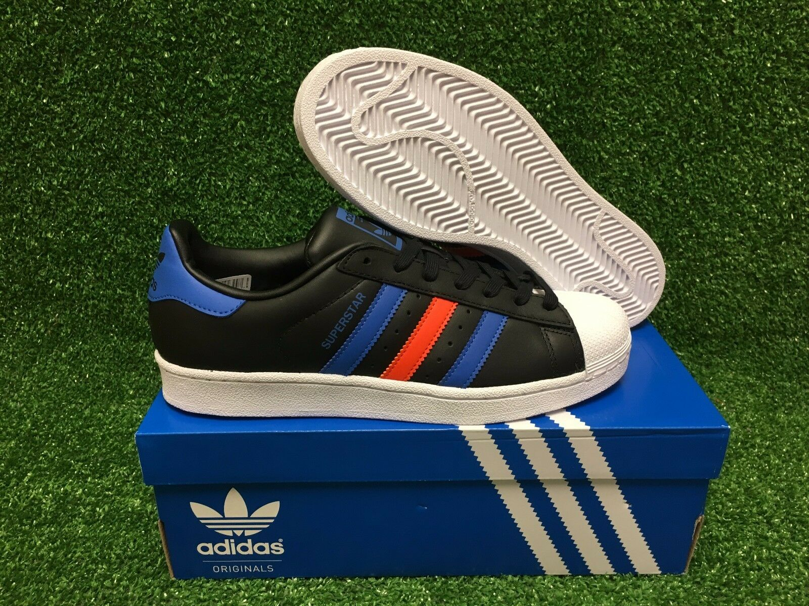 NEW ADIDAS ORIGINAL SUPERSTAR FOUNDATION Men's SHOES BLACK BLUE ORANGE BB2245