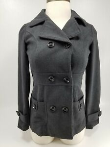 YMI-Outerwear-Gray-Jacket-Peacoat-Women-Button-Down-Cotton-Wool-Blend-Sz-Medium