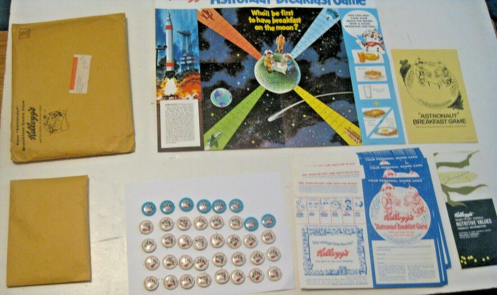 NOS VINTAGE 1960's KELLOGG'S CEREAL ASTRONAUT BREAKFAST GAME  RARE FIND