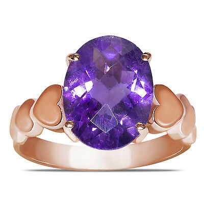 Beautiful Natural Amethyst Heart Designed Shank Fashion Ring in 10k Rose Gold