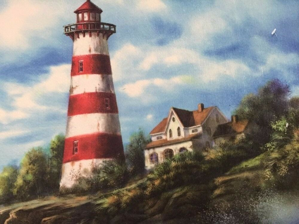 Lighthouse Sailboat Nautical By The Seaside Kitchen Mat Accent Rug Birds Decor