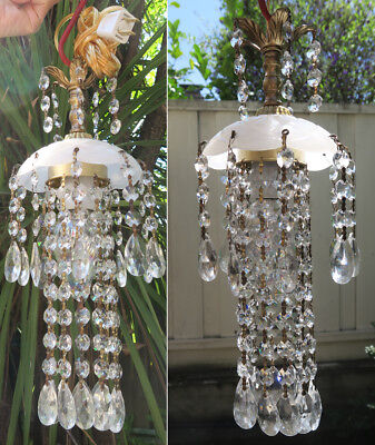 1 SWAG Opaline Jelly Fish vintage Lamp Chandelier brass Cut crystal glass opaque