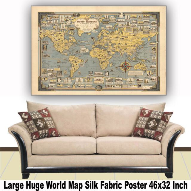 "Poster World Map Vintage Building Large Huge Giant Silk Fabric Canvas 46""x32"""