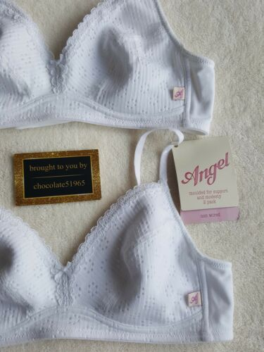NEW M/&S 2 X /'/'Angel Range 51/% Cotton Mix Non-Wired Padded bra set 30B WHITE