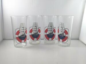 "Vtg Nautical Ship Liferaft 5"" Drinking Glasses Tumblers,  Set of 4, Avir Italy"