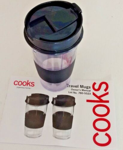 Cooks Set of two clear plastic with black trim travel tumblers 14 ounces