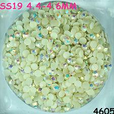 3500pcs SS19 White AB Hot-fix Crystal Acryl Rhinestone Round Beads flatback